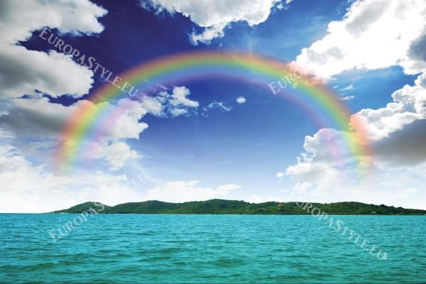 Фототапети красиво небе и дъга над остров