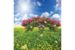 слънчево поле с жълти цветя и пеперуди