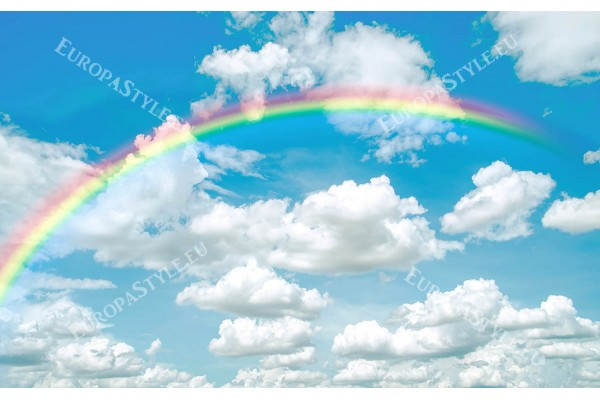 Фототапет небе пейзаж от бели облаци с дъга