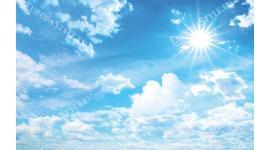 Фототапет нежни светли облаци небе и слънце