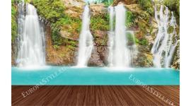 Фототапети лазурен водопад с дървена платформа