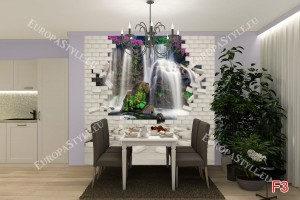 Фототапети гледка на водопад с цветя през тухлена стена