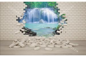 Фототапети гледка на водопад през тухлена стена
