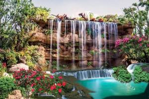 Фототапет прекрасен водопад водна стена градина