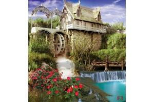 Фототапет водопад със мелница прекрасна гледка с цветя