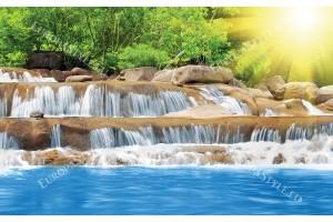 прекрасен син водопад със слънце