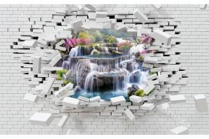 Фототапети 3d разбита тухлена стена изглед от водопад с цветя