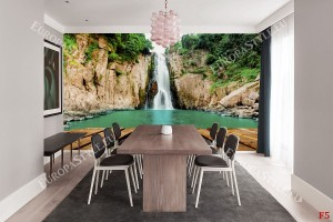 Фототапет красив голям водопад с платформа