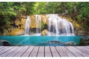 Фототапет изглед водопад и дървена платформа