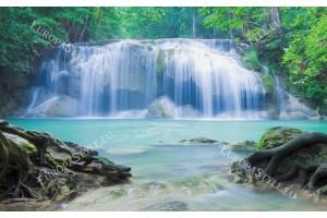 Фототапет голям горски водопад водна завеса