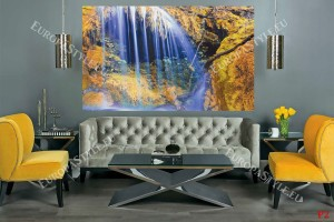 Фототапет прекрасен водопад със синя водна завеса