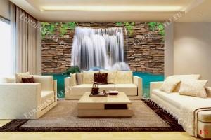 Фототапет водна стена от камък с декорация