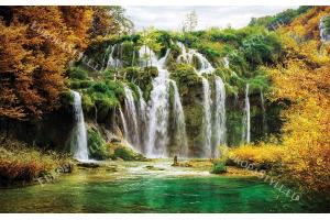 Фототапет горски голям водопад есенен пейзаж
