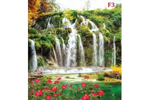 Фототапет приказен водопад с много цветя