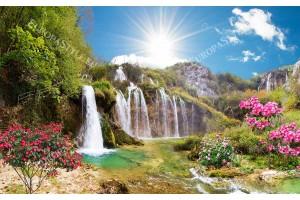 Фототапет приказен водопад пейзаж с 3д ефект с много цветя и слънце