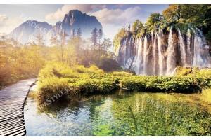 Фототапети красив водопад с езеро и пътека