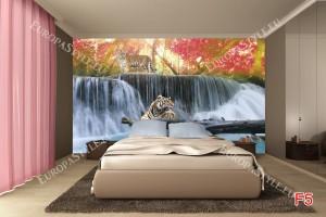 Фототапети красива гледка с тигри и водопад