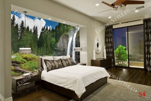 Фототапети прекрасен водопад в борова гора