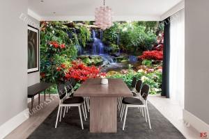 Фототапет градински водопад с червени растения