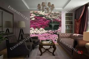 Фототапет градински водоскок розови цветя