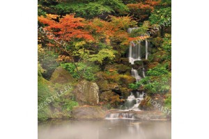 Фототапет малък красив водопад и дървета