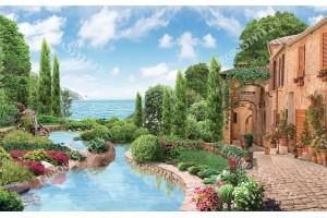Фототапети красив пейзаж комбинация море и градина с езеро