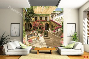 Фототапети вила живописна градина с розово дърво