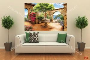Фототапети вътрешен двор градина с фонтан