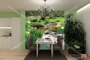 фототапети пейзаж градина с поточе