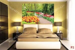Фототапети градинска алея с бяло мостче и цветни лалета