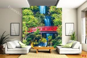 Фототапети водопад на скат с червено мостче