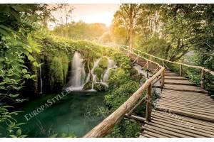 Фототапет горски мост покрай водопад
