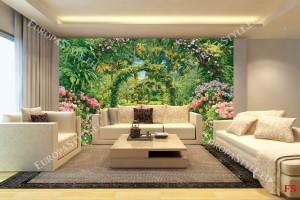 Фототапет прекрасна градинска арка с цветя 3д
