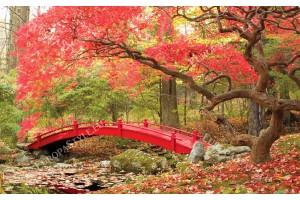 Фототапет червено мостче в гора