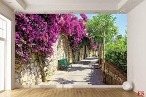 Фототапет гръцки пейзаж алея с красиви розови цветя