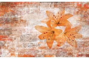 Фототапети арт стена с надписи и цветя в сиво и оранжево