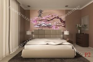 Фототапети китайски мотив с розов цвят клонка