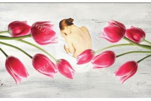Фототапети арт момиче рисувано с лалета