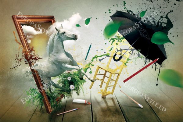 Фототапети красив кон динамична арт композиция