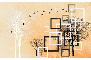 Фототапети арт с 3д ефект дърво графика мазилка в 2 цвята