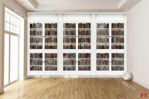 Фототапети стена бяла библиотека с книги