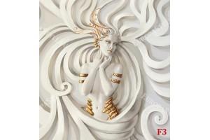 женска статуя на бяла стена барелеф в 2 варианта