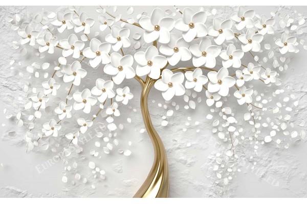 Фототапет 3д арт дърво с бели цветчета 2 варианта