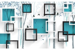 Фототапет 3д ефект стена геометрична графика на дърво в 2 цвята
