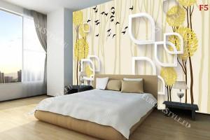 Фототапет 3д ефект стена геометрична графика дърво корона в 2 цвята