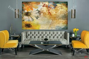 Фототапет пано рисувани маргарити