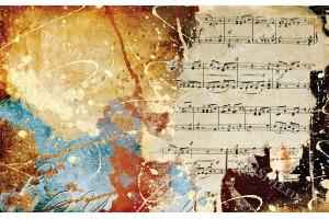 Фототапет арт пано музикални ноти винтидж