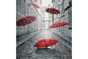 Фототапет арт с чадъри в черно и червено
