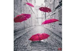 Фототапет арт с чадъри в черно и розово