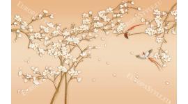 Фототапет японска клонка с 3д ефект на цветята в 2 цвята